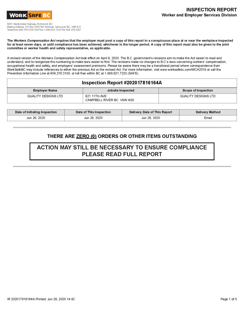 WorkSafeBC Inspection Report